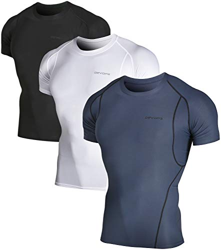DEVOPS Men's 3 Pack Cool Dry Athletic Compression Short Sleeve Baselayer Workout T-Shirts (Large, Black/Charcoal/White)