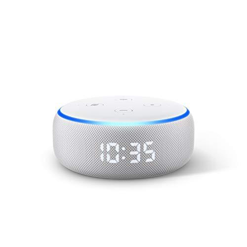 Nuevo Echo Dot (3.ª generación) - Altavoz inteligente con reloj y Alexa, tela de color gris claro