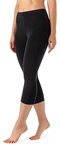 Merry Style Leggings 3/4 Pantaloni Capri Donna MS10-144 (Nero, M)