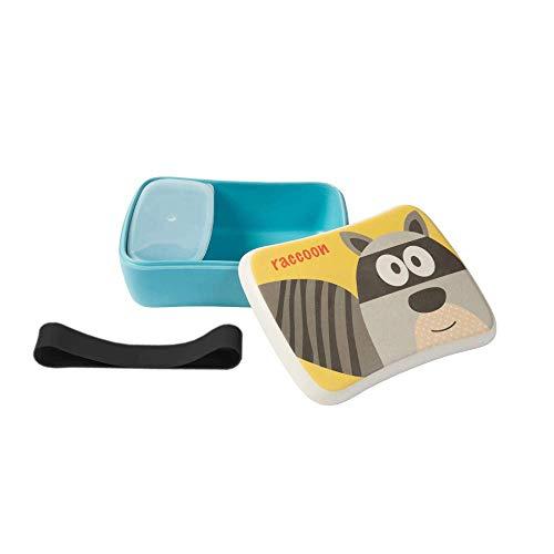 BIOZOYG Kinder Bento Lunchbox aus Bambus I Brotdose mit extra Snack Box I Mädchen und Junge Motiv Brotbox - Waschbär für Kindergarten I Lunch Set to Go BPA frei und 100{489846ecd4a34d8e83b5da203c2780a965e4ed123743f6c11525bf305fd99039} lebensmittelecht