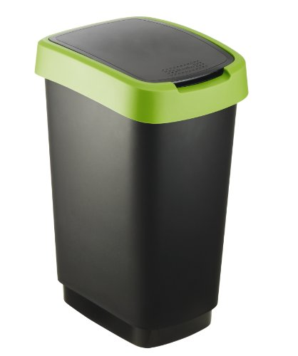 Rotho Twist Mülleimer 25 l, Kunststoff (PP), schwarz / grün, 25 Liter (33,3 x 25,2 x 47,6 cm)