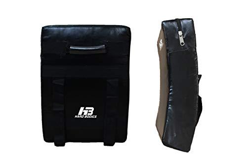 HB Hard Bodies Synthetic Leather Curved Shield for Taekwondo Boxing, Kick Boxing, Muay Thai Karate Kick Pad (Black)