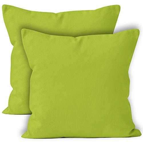 Encasa Homes Federe 2 Pezzi (50 x 50 cm) - Verde Lime - Tela in Cotone Morbido Copricuscino...