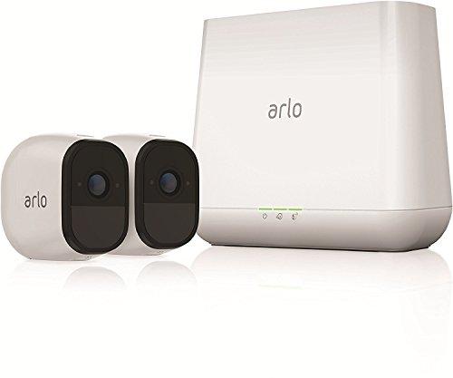 ARLO Pro VMS4230 Sistema de videovigilancia Wi-Fi, kit básico con 2 cámaras de seguridad de audio bidireccionales, HD, visión nocturna, interior / exterior, funciona con Alexa y Google Wi-Fi