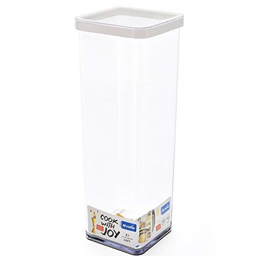 Rotho Loft quadratische Vorratsdose 2l mit Deckel und Dichtung, Kunststoff (SAN) BPA-frei, transparent/weiss, 2l (10,0 x 10,0 x 28,5 cm)