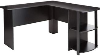 Ameriwood Home 9354026PCOM Dakota L-Shaped Desk with Bookshelves (Black Ebony Ash)