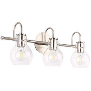SOLFART Brushed Nickel Bathroom Lighting Fixtures Over Mirror Modern Glass Shade Vanity Lights Wall Sconce(3 Lights)