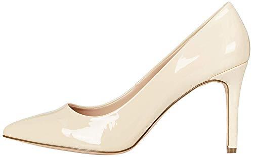 Marca Amazon - find. High Heel Point Court Zapatos de tacón con Punta Cerrada, Beige (Beige (Nude), 38 EU