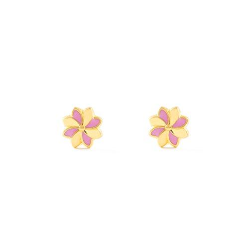 Monde Petit T1829P -Boucles d'Oreilles Enfant - Or Jaune 750/1000 (18...