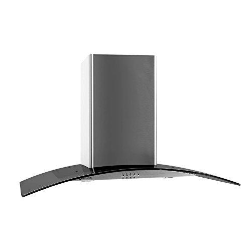 Klarstein GL90WSB Cappa Aspirante con rivestimento in vetro e acciaio inox (90 cm, potenza di...