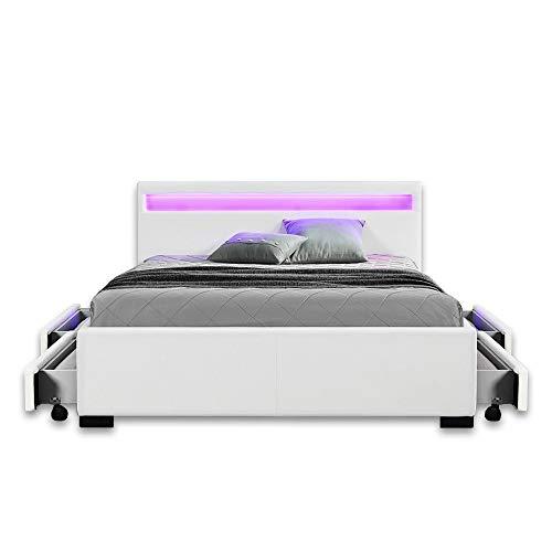 Home Deluxe - LED Bett - Nube weiß - 140 x 200 cm - inkl. Schublade - Verschiedene Größen