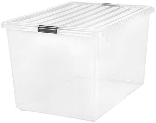 IRIS USA CB-130 / Buckle Down Storage Box, 1 Pack, 132 Quart, Clear