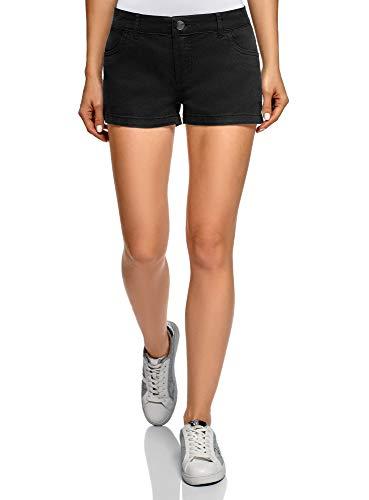 oodji Ultra Damen Baumwoll-Shorts, Schwarz, Herstellergröße DE 36 / EU 38 / S