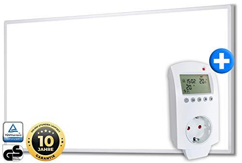 Heidenfeld Infrarotheizung HF-HP100 720 Watt Weiß + Steckdosenthermostat HF-DT100-10 Jahre Garantie - Deutsche Qualitätsmarke - TÜV GS - Für 12-19 m² Räume (HF-HP100 720 Watt)
