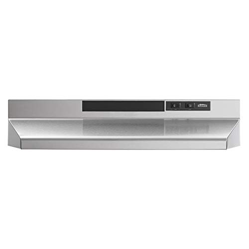 Broan-NuTone F403004 Exhaust Fan for Under Cabinet Stainless Steel Convertible Range Hood Insert with Light, 30-Inch