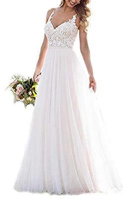 Features: elegant a-line beach wedding dresses long for bride 2040, lace applique v neck, sleeveless, floral backless, decorated buttons, floor length bridal wedding gowns, lace tulle, bulit in bra, zipper closure, suitable for beach/summer/country/b...