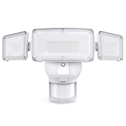LEPOWER 35W LED Security Lights Motion Sensor Light Outdoor, 3500LM Motion Security Light, 5500K, IP65 Waterproof, 3 Head Motion Detected Flood Light for Garage, Porch,Yard, Entryways - AC Powered