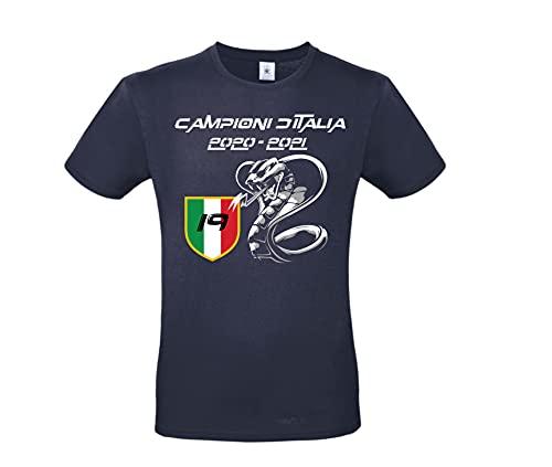 DND DI D'ANDOLFO CIRO T-Shirt Uomo Maglia Bianca/Nera/Blu Celebrativa Inter Campione d'Italia - 19 Scudetto 2020/2021 Stampata Direttamente su Tessuto (Blu, XXL)