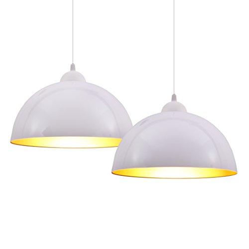 B.K.Licht Set de lámparas de techo colgantes para interiores, requieren bombilla E27 LED, max. 60 W, 230 V, índice de protección IP20, color blanco y dorado