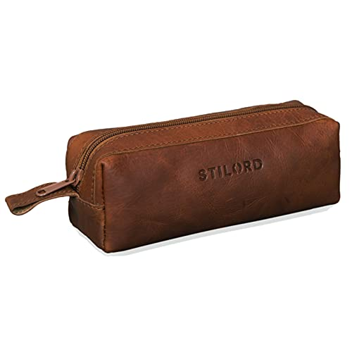 STILORD 'Linus' Astuccio in pelle grande Portapenne Portamatite Portatrucco vintage per Universit Scuola e Ufficio Uomo Donna, Colore:cognac-marrone