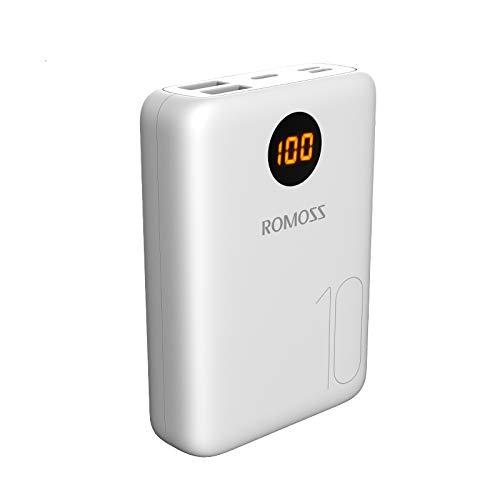 Romoss Mini Batterie Externe 10000mAh, Power Bank Ecran LED avec 3 Types Entrées et 2 Sorties(3.1A Total), Chargeur Externe Type C Compatibilité Universelle avec Tous Les Téléphones Portables