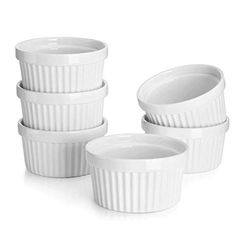 Sweese 501.001 Porcelain Souffle Dishes, Ramekins - 8 Ounce for Souffle, Creme Brulee and Ice Cream - Set of 6, White