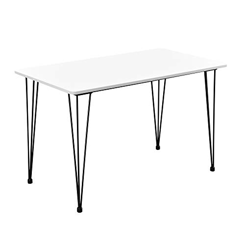 [en.casa] Design Esstisch \'Hairpin\' in Weiß 120x70cm - Küchentisch Esszimmertisch Tisch mit Hairpin-Legs