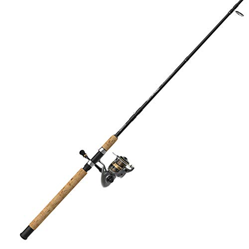 Quantum Strategy Spinning Reel and 2-Piece Fishing Rod Combo, Graphite Composite Rod with Cork Handle, Continuous Anti-Reverse Clutch Fishing Reel, Multi (SR40862MLA.NS4), One Size