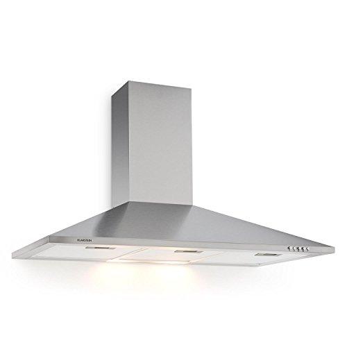 Klarstein TR90WS Filter 3 cappa aspirante da cucina (90cm, 340m³/h, 3 filtri antigrasso, funzione riciclo, rumore e consumo energetico minimi, 3 livelli, 2 lampade da 20 Watt, acciao) - grigio