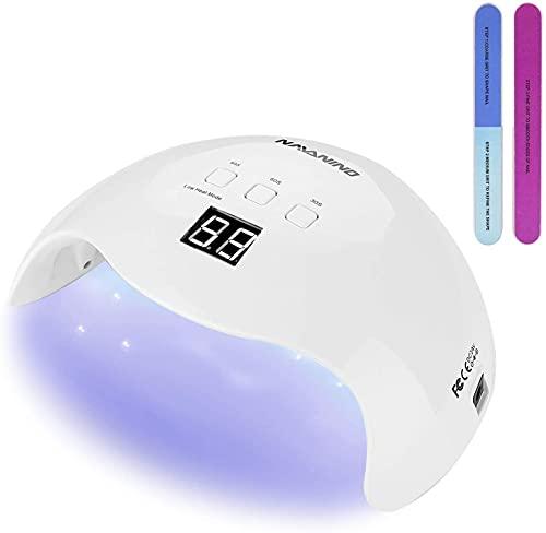 NAVANINO Lampada UV LED, Pu Curare Rapidamente i Raggi UV Gel gel Costruttore/LED 48W Potenza Massima Viene Fornito con 2 Bastone Per Levigatura Timer Preimpostati (30s,60s,99s) (bianca)