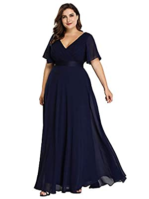 Fully lined, not padded, low stretch Features: double V-Neck, ruffle sleeves, short sleeve, front wrap, empire waist, chiffon, a line, floor length maxi dress, plus size dresses Perfect as christmas party dresses, thanks giving day gift, wedding dres...
