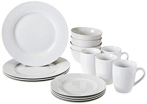 Amazon Basics 16-Piece Porcelain Kitchen Dinnerware Set with...
