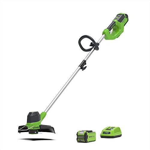 Greenworks Tools G40LTK2 tondeuse sans fil (Li-Ion 40 V, 30 cm largeur coupe, 7000 tr/min, tête moteur rotative, poignée supplémentaire réglable rail Flowerguard, avec batterie et chargeur)