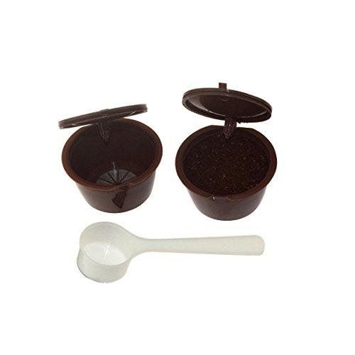 Fligatto Capsule ricaricabili di caffè, capsule filtro, colore marrone, per Dolce Gusto, con cucchiaio di plastica, colore bianco