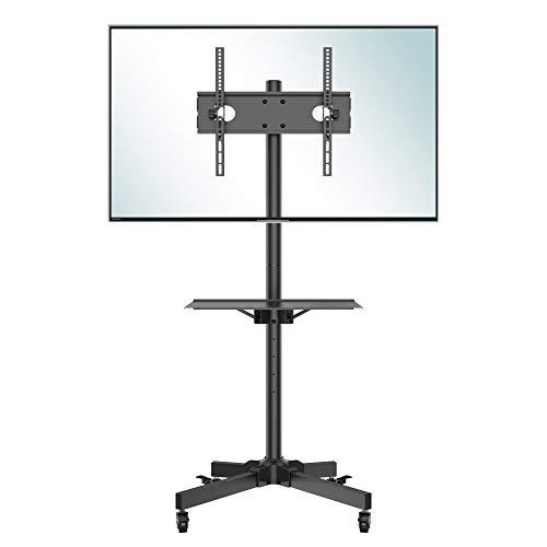 BONTEC Supporto TV da Pavimento con Ruote Carrello, Staffa Porta Mobile Supporto per Schermi 23'-55' Plasma/LCD/LED, Con portata max. 25 kg