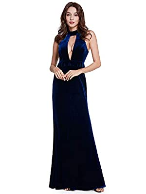 Fully line, not padded, high stretch Features: sleeveless, velvet, halter, floor-length, long party gowns, formal dress, velvet party dress Velvet long evening dress with halter, the dress is sexy and elegant. Perfect for evening party, wedding party...