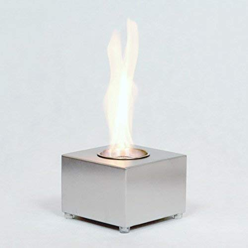 Elegant cube tabletop bioethanol fire in steel, very mobile, living flame, creates warmth and ambience