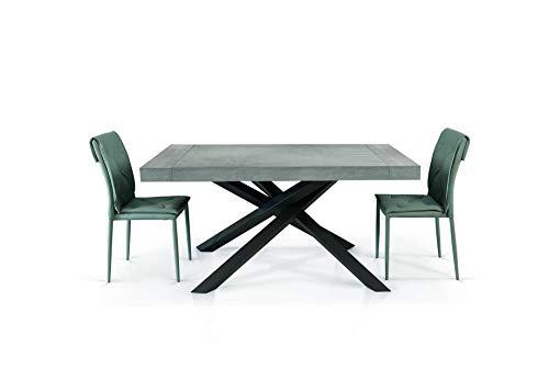 Fashion Commerce Tavolo FC1613, Legno, Grigio Beton-Antracite, 160x90-260x90 cm