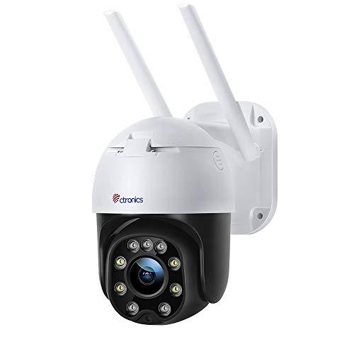 Cámara wifi para exteriores con visión nocturna en color, Ctronics 1080p PTZ Cámara de vigilancia IP con zoom digital con giro de 355 ° e inclinación de 90 °, seguimiento automático, detección humana, audio bidireccional