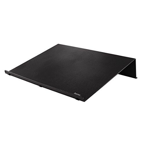 """Hama Laptop-Ständer Notebook-Ständer (Laptophalter für Notebooks, Laptops, Tablet, eBook-Reader, Notenhefte und Bücher, rutschfeste Gummifüße, Carbonoptik, universal bis max. 18,4"""" I 47cm) schwarz"""