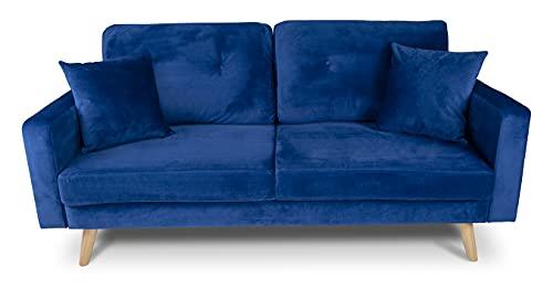 Divano 3 posti in velluto blu mod. Chloe