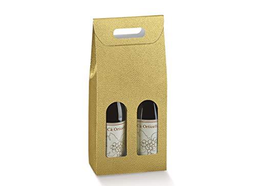 cartai bassanesi 5 Confezioni Porta Bottiglie Effetto Pelle Oro (2 Bottiglie 200 x 100 x 385 mm 33568)