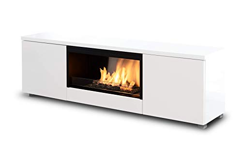 Planika Pure Flame TV Box with Automatic Ethanol Burner: No Mesh - with Remote Control - White