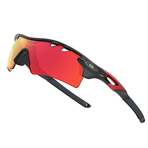 WOOLIKE Sports Sunglasses Driving Glasses Shades for Men Women Interchangeable 5 Lens Sunglasses for Cycling Baseball 801 (Black Red -Upgrade)