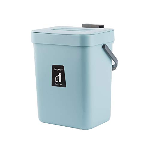 KaryHome Hanging Small Trash Can with Lid Under Sink for Kitchen,Food Waste Bin,Kitchen Compost Bin for Counter...