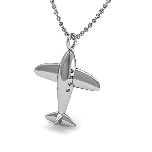 The Best Airplane Pendant Necklace, 925 Sterling Silver 18...