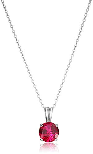 Amazon Essentials Sterling Silver Round Cut Created Ruby...
