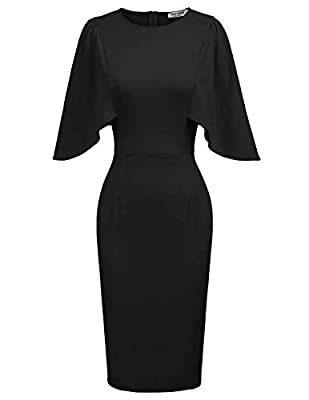 Please Note:This pencil skirt size is small, it is recommended to choose a size larger than the daily size Feature: Ruffles Sleeve,Round Neck,Back Zipper,Bodycon Midi Dress,an Essential for Every Fashion Women or Girl This pencil dress is simple but ...