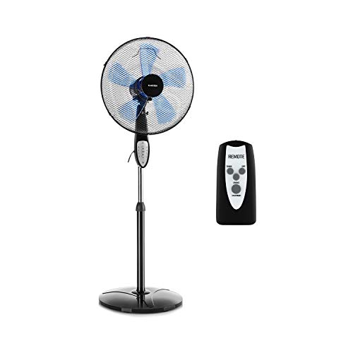 Klarstein Summerjam Standventilator Standlüfter (5 Rotorblätter, Oszillationsfunktion, 50 Watt, 3 Stufen, Timer, Schutzgitter, Fernbedienung) schwarz