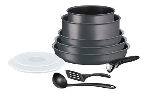 Tefal Ingenio Performance - Batteria da cucina, 10 pezzi, a induzione, 3 padelle, 2 pentole, 2 coperchi ermetici, 2 accessori benvenuti (bocca e spatola a angolo), 1 manico rimovibile L6859102